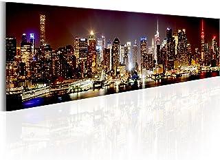 murando Cuadro en Lienzo New York Panorama NYC Ciudad Noche 172x45 cm 1 Parte impresión en Material Tejido no Tejido Impresión Artística Imagen Gráfica Decoracion de Pared d-B-0172-b-a