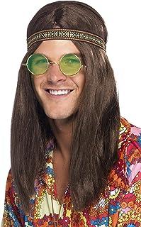 Adults-28358 Kit hippy de hombre, con banda para el pelo, gafas y collar, color marrón, Tamaño único (Smiffy's 28358) , co...