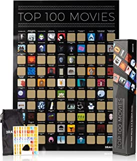 Movie Scratch Off Poster with Easy Off Gold Foil - Instantly Reveals Your Top 100 Movie Icons - 17 x 24 Poster in Beautiful Gift Box