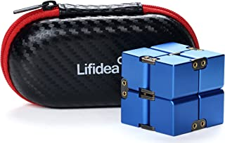 Lifidea Aluminum Alloy Metal Infinity Cube Fidget Cube (5 Colors) Handheld Fidget Toy Desk Toy with Cool Case Infinity Magic Cube Relieve Stress Anxiety ADHD OCD for Kids and Adults (Blue)