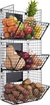 Saratoga Home Premium 3-Tier Wall Mounted Hanging Wire Baskets with Chalkboards High-Grade Black Iron - Fruit or Produce Storage - Pantry Organization --Rustic Country-Style