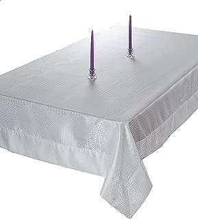 Violet Linen Luxurious Damask Crocodile Design Crocodile Design Tablecloths, White, 70