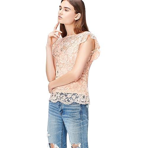 36c3915b77c2ec FIND Women's Lace Top, Pink (Blush), 12 (Manufacturer size: Medium