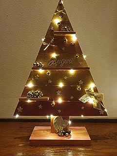 Albero Decorativo in Legno con le Mensoline, Decorazione Natalizio Capodanno Natale Feste Rustico Metallizzato