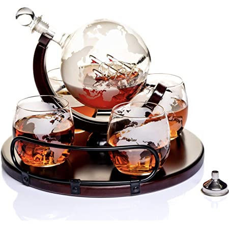 Whiskey Decanter Globe Set With 4 Etched Globe Whisky Glasses For Liquor Scotch Bourbon Vodka 850ml Liquor Decanters