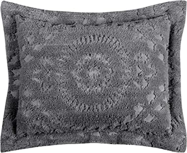 Better Trends Rio Collection in Floral Design 100% Cotton Tufted Chenille, Standard Sham, Grey