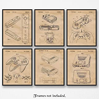 Original Nintendo Patent Poster Prints, Set of 6 (8x10) Unframed Photos, Wall Art Decor Gifts Under 25 for Home, Office, Garage, Man Cave, Shop, College Student, Teacher, Comic-Con & Movies Fan