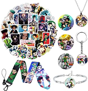 Boys and Girls Hunter x Hunter Anime Gifts Set,50 Pcs Stickers,3Pcs Button Pins,Keychain,Lanyard,necklace Bracelet for Fans