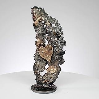 Al corazón de las hojas CXXXI - Escultura de metal, corazón de bronce y hoja de acero de bronce - Philippe Buil