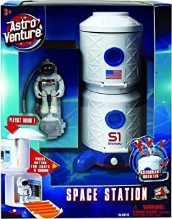 Astro Venture Space Station Toy with Lights, Sound and Astronaut Figure - Open Swivel Control Rooms - Fun Toy for Any Outer Space Mission & Adventure