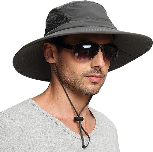 EINSKEY Sun Hat for Men/Women, Wide Brim UV Protection Bucket Hat Foldable Waterproof Outdoor Boonie Cap for Safari, ...