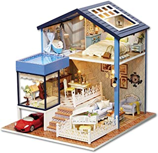 Rylai 3D Puzzles Miniature Dollhouse DIY Kit w/ Light - Seattle House Series Dolls Houses Accessories with Furniture LED Music Box Best Birthday Gift for Women and Girls