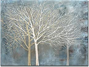 Boieesen Art,30x40Inch Modern Hand Painted Abstract Tree Wall Art Blue Grey White Oil Paintings Winter Landscape Canvas Ar...