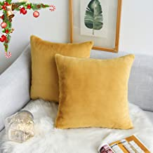 Kevin Textile 18 x 18 Inch Decorative Square Throw Pillow Cases Protectors Warm Faux Crystal Mink Fur/Suede Cushion Covers for Sofa, Set of 2, Misted Yellow