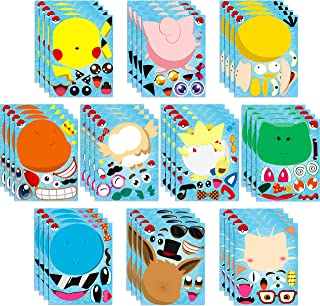 TICIAGA 40pcs Cartoon Make-a-face Stickers Sheets, Make Your Own Cartoon Stickers Fun Craft Project for Kids, 40pcs Anime Mix and Match Stickers for Party Favor Supplies, Class Reward, Book Decor