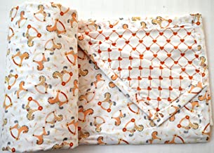 Trance Home Linen 100% Cotton Kids/Baby Dohar/Blanket/Baby Wrap (100cms X 140cms for 0-02 Years) - Orange Yellow Horses Reversible Hearts