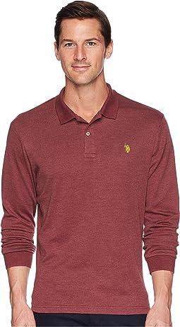 Long Sleeve Solid Small Pony Interlock Polo Shirt