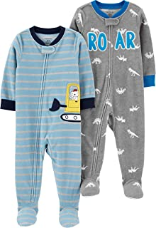 Baby Boys 2-Pack Loose Fit Fleece Footed Pajamas