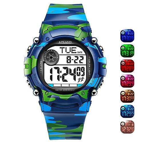 c25ca26fdb3a AZLAND 3 Multiple Alarms Reminder Sports Kids Wristwatch Waterproof Boys  Girls Digital Watches Camo