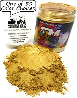 Mica Powder Mica Pigment Powder, Cosmetic Grade Colorant for Soap Making, Makeup, Epoxy Resin, Slime Making Colors, Powdered Pigments Stardust Micas Queens, Gold