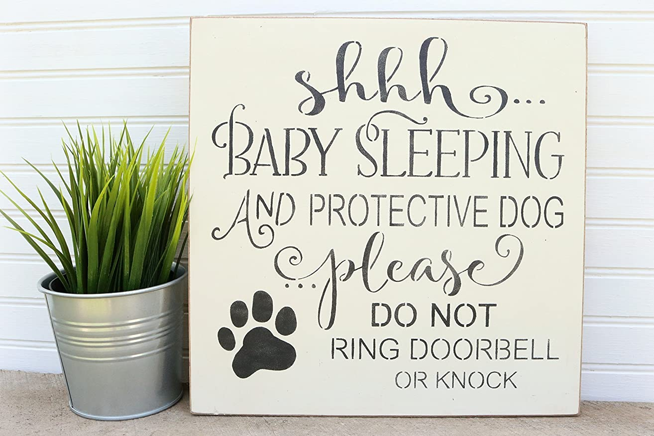 Shhh Baby Sleeping And Protective Dog Please Do Not Ring Doorbell Or Knock