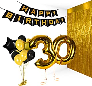 Golden Happy 30th Birthday Party Decorations Metallic Number Balloons for Anniversary Gifts and Photo Booth Props Valentines Bday Foil Banner Supplies