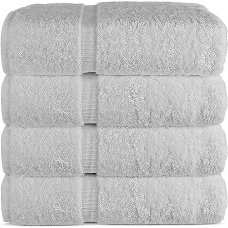 "Luxury Hotel & Spa Bath Towel 100% Genuine Turkish Cotton, 27"" x 54"" ,Set of 4,White"