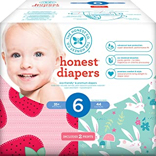 Honest Baby Diapers,  Club Box,  Strawberries & Bunnies,  Size 6,  44 Count