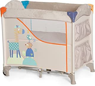 Hauck Sleep N Care Beistellbett / Stubenwagen / Reisebett / inklusive Matratze, Rollen, Utensilien-Taschen und Tragetasche / faltbar, klappbar und tragbar,Animals Beige