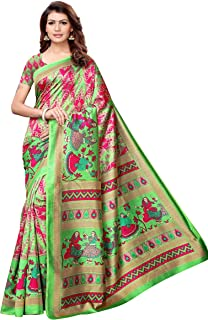 3365ac9420 Women's Art Silk Sarees Printed Art Silk Sarees - Hot Pink & Parakeet Green