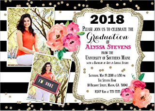 Black and White Graduation Invitation with Watercolor Flowers and Glitter Look
