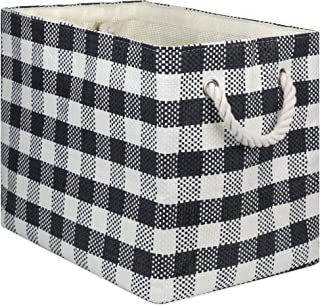 """DII Oversize Woven Paper Storage Basket or Bin, Collapsible & Convenient Home Organization Solution for Office, Bedroom, Closet, Toys, & Laundry(Large - 17x12x12""""), Black Checkered"""