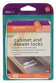 KidCo Adhesive Mount Cabinet & Drawer Lock 3 Pack, White