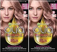 Garnier Olia Bold Ammonia Free Permanent Hair Color (Packaging May Vary), 8.22 Medium Rose Gold Hair Dye, 2 Count