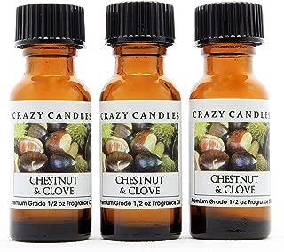 Crazy Candles Chestnut & Clove (Made in USA) 3 Bottles 1/2 FL Oz Each (15ml) Premium Grade Scented Fragrance Oil