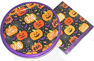 Halloween Paper Plates and Napkins for 18 (Orange Pumpkins)