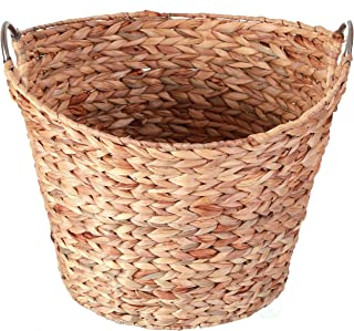 Vintiquewise Large Round Water Hyacinth Wicker Laundry Basket with Metal Handles, Brown