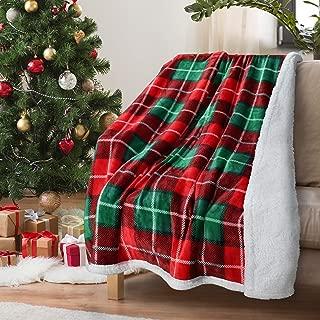 Red Buffalo Plaid Christmas Throw TV Sherpa Blanket 50