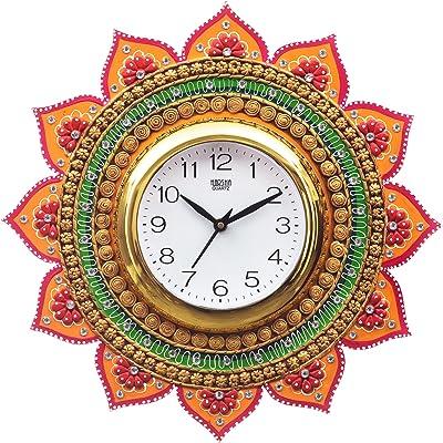 eCraftIndia Analog Wall Clock(Orange & Green, with Glass)