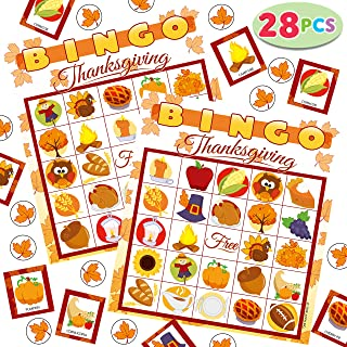 28 Players Thanksgiving Bingo Cards (5x5) for Kids Family Activities, Party Card Games, School Classroom Games, Turkey Party Favors Supplies.