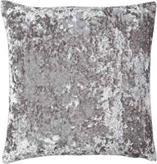 Crushed Velvet Silver Pillow with Feather Fill Insert (20x20)