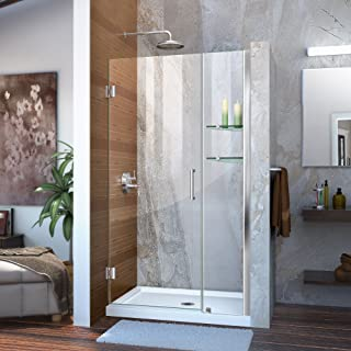 DreamLine Unidoor Min 41 in. to Max 42 in. Frameless Hinged Shower Door in Chrome finish, SHDR-20417210S-01