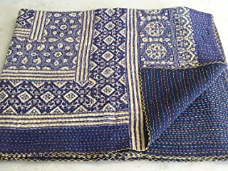 Blue Kantha Quilt, Twin Size Hand Stitch Kantha Ajrakh Bed-cover, Indian Bohemian Kantha Ajrakh Quilt (Multi)