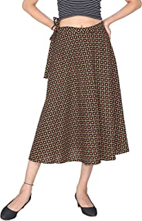 Pezzava Women's Wear Cotton Printed Calf Length Skirt(Multicolor; Free Size)