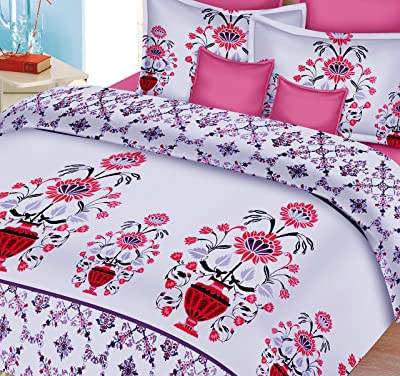 MAFATLAL Tropical Series - Organic Cotton bedsheets Combo for Double Bed - Extra Large bedsheets 8.9 ft x 8.9 ft for King Size beds - 220 TC Pure Cotton bedsheet (Tropical Pink)