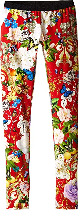 Roberto Cavalli Kids Floral Print Leggings (Big Kids)