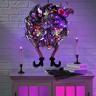 Lulu Home Halloween Wreath, 30 LED Purple Lighted Front Door Wreath with Witch Hat Leg Mesh Decor, Battery Operated Halloween