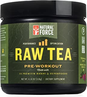 Natural Pre Workout Powder, Raw Tea Original Flavor – Best Metabolism Booster for Men and Women Made from 15 Premium Herbs...