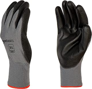 AmazonBasics Polyurethane Coated Work Gloves, Polyester Liner Fiber, Touch Screen, Grey,..