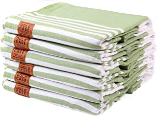Gold Case Set of 6 XXL Moria Pestemal Turkish Bath Towel 100% Cotton Green